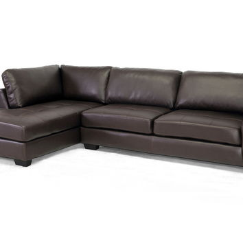 Opentip.com: Baxton Studio Orland Brown Leather Modern Sectional Sofa Set with Left Facing Chaise