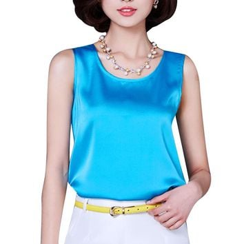 2017 Summer Tank Top Loose Casual Chiffon Solid Sleeveless Vest All-match T-shirts for Women Bright Silk 14 Color Tops Plus Size