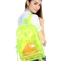 NEON GREEN CLEAR BACKPACK