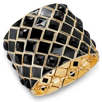 Bar III Gold-Tone Diamond-Shaped Black Stone Wide Stretch Bracelet