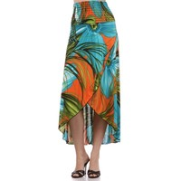Floral Palm Leaves Graphic Print Strapless High Low Dress / Skirt