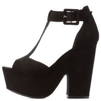 Black T-Strap Chunky Platform Heels by Charlotte Russe