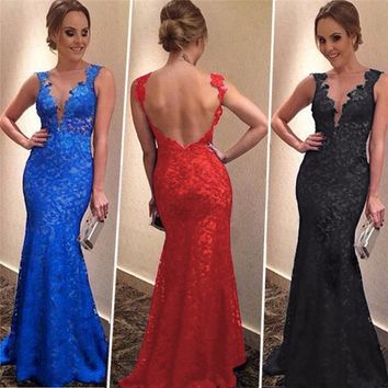 2018 Vintage Long Summer Dress Women Sexy Backless Sleeveless Lace Dress Elegant Slim Party Bridesmaids Dresses vestidos