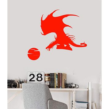 Vinyl Wall Decal Celtic Dragon Fantasy Animal Moon Stickers (2497ig)