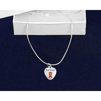 Red Ribbon Necklace Charm for Heart Disease Awareness