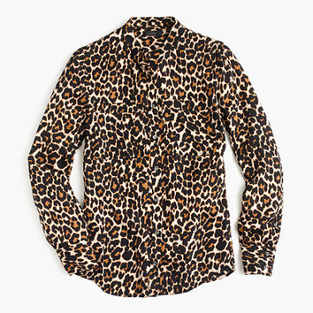 J.Crew Womens Collarless Pocket Top In Leopard