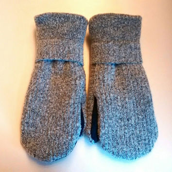 Etsy mittens, kids mittens, fleece lined mittens, felted wool mittens, etsy sweater mittens, black mittens, mittens buttons, mittens