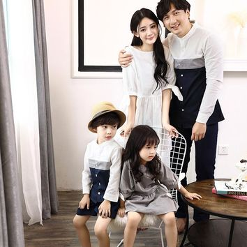 Family Matching Outfits England Gentleman Style Father and Son Matching T Shirts Mommy and Me Mother Daughter Dresses Clothes