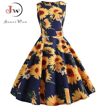 Plus Size Summer Dress Women 2018 Floral Vintage Rockabilly Dresses 50s 60s Retro Big Swing Hepburn Sundress Vestidos Jurken