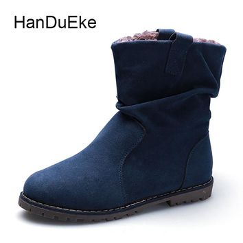Size 34-43 Autumn Women's Cotton Shoes Keep Warm Plus Plush Winter Women's Chelsea Boots Round Toe Flock Flat with Women Boots