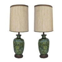 Pre-owned Mid-Century Modern Glazed Ceramic Lamps - A Pair