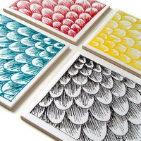 Modern Ceramic Coasters Set Tiles Scallops Scales by sewZinski