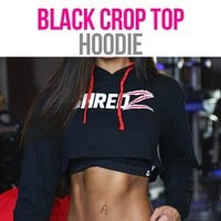 SHREDZ FEMALE CROP HOODIE – BLACK/RED