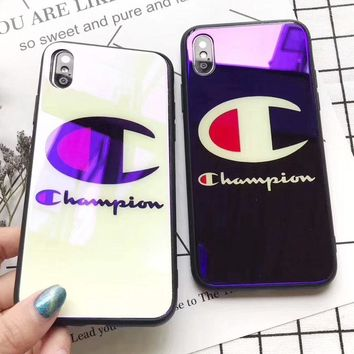 Champion New fashion letter logo couple protective cover phone case