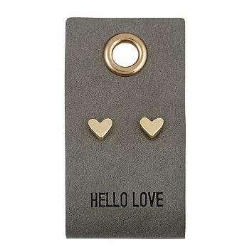 Hello Love Leather Tag Earrings
