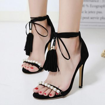 Beadings Tassels Ankle Wrap Open Toe Stiletto High Heels Sandals
