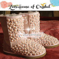 CHRISTMAS Sales - Short Sheepskin Wool Boots with Pink PEARLS and CRYSTALS