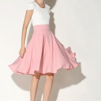 Women a-line high waisted midi skirts Summer & Spring vintage umbrella style solid pleated cotton poplin fabric skirt