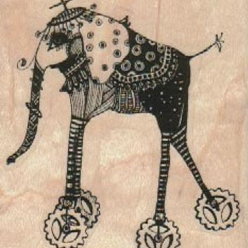 rubber stamp Elephant on wheels   Steampunk  unmounted, cling stamp or  wood mounted designed by Mary Vogel Lozinak no 18547