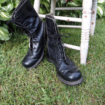 Vintage US Military Boots, 60's Vietnam Era Black Leather Jump Boots, Combat Boots, Panco, Goodyear, Men's Size 9, Marked 9 R - KU - 7-67