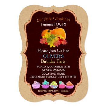 Pumpkin Fall Leaves Cakes BOY Birthday Invitation