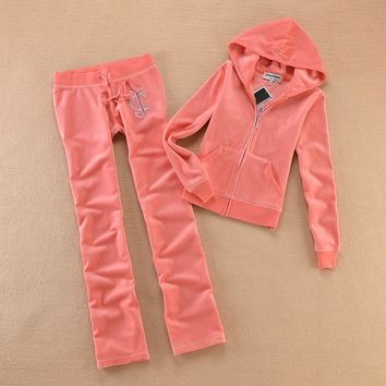 Juicy Couture Studded Logo Crown Flower Velour Tracksuit 8604 2pcs Women Suits Pink