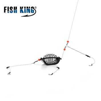 Fish King 20g-80g 1pc Fishing Bait Cage Stainless Steel Wire Swivel with 3 Line Hooks Feeder For Carp Fishing Tackle Accessories