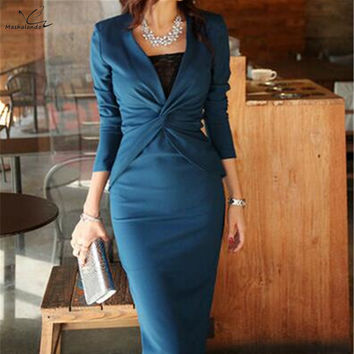 Winter Autumn Vestidos 2016 Celebrity Elegant Vintage Bodycon Long Midi Dress Womens Long sleeve Formal Work Party dress Spring