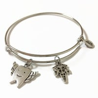 Dental Hygienist Expandable Bracelet Dentist Charm Bangle Orthodontist Expandable Bracelet Dental Hygienist Silver Wire Bangle Bracelet