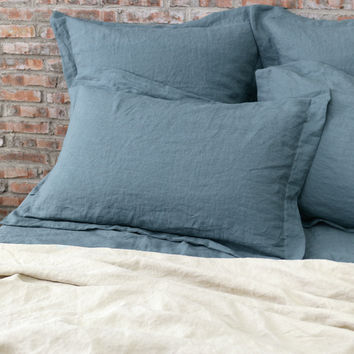 Flanged Linen Pillowcases (set of 2) French Blue