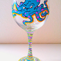 Octopus Wine Glass Gift Hand Painted Tattoo - Graffiti Style Design - Colorful - Nautical - Glassware - Barware