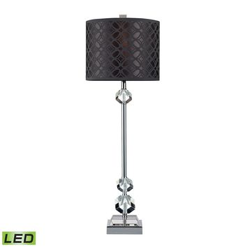 Chamberlain LED Table Lamp In Chrome And Clear Crystal With Laser Cut Shade