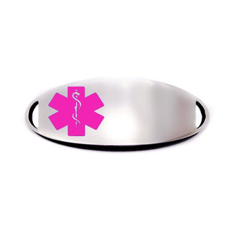 Engraved Stainless Steel Oval Medical Bracelet ID Tag - Pink