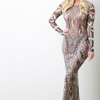 Tribal Print Mesh Long Sleeve Maxi Dress