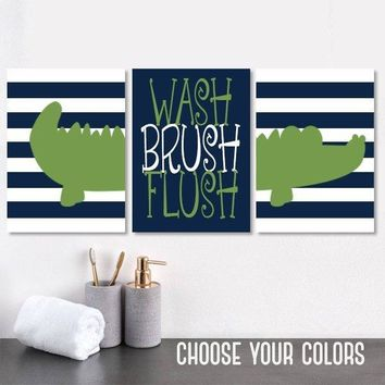 ALLIGATOR Bathroom Wall Art, Alligator Boy Brother Bathroom Decor, Kid Child Bathroom Decor, Canvas or Print Wash Brush Flush Set of 3