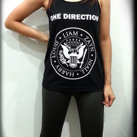 1D One Direction Ramones Logo Women Sleeveless Black Tank Top Tanktop Tshirt T Shirt