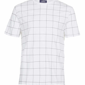 WHITE GRID PRINT T-SHIRT - TOPMAN USA