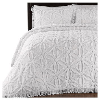 King Size Floral Chenille Bedspread Set in 100% Cotton with Fringe Edge