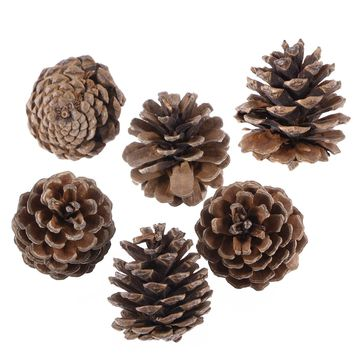 6pcs Christmas Pine Cones with String Wood Pinecone Christmas Tree Decoration Crafts for Home Ornament