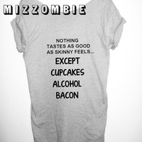 CUPCAKES ALCOHOL BACON   Tshirt, Off The Shoulder, Over sized,   loose fitting, graphic tee, screen printed by hand, women's, teens.