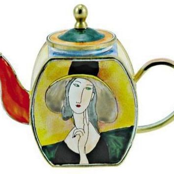 Modigliani Lady With Hat Mini Porcelain Teapot by Kelvin Chen - 8450