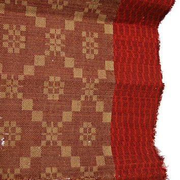 Antique 19th C Jacquard Overshot Coverlet Brown/ Green/ Red Pennsylvania 36 x72
