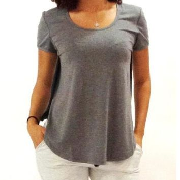 Gray Short-Sleeve Side Slit T-Shirt