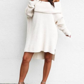 White Off Shoulder Backless Dolman Sleeve Slouchy Casual Sweater Midi Dress
