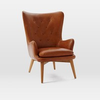 Niels Leather Wing Chair