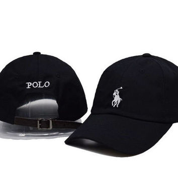 Black Polo Embroidered Cap