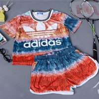 Adidas feather print red short sleeve top shorts two-piece suit sportswear H-MDTY-SHINING