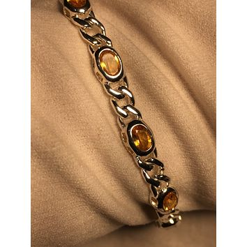 Vintage Handmade Mosaic Genuine Golden Citrine Rhodium Finished 925 Sterling Silver Tennis Bracelet