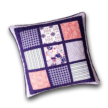 "DaDa Bedding Cherry Blossom Floral Patchwork Purple Euro Pillow Sham Cover, 26"" x 26"" - Designed in USA (JHW877)"