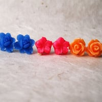 Flower Stud Earrings. Summer Fashion Set. Hot Pink Earrings, Orange Rose Earrings, Cobalt Blue Lotus Earrings. FSE3.